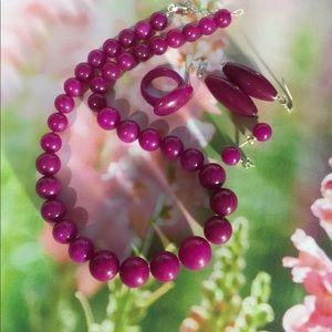 Jewelry - Purple agate gemstone set.